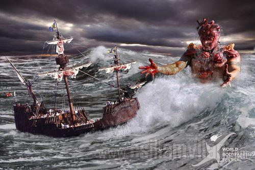 Sea demon bodypainting