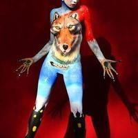 Arctic wolf bodypainting