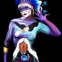Indian chief bodypainting